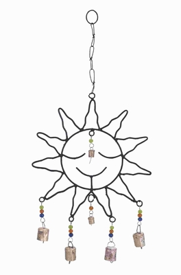 Captivating Metal Sun Face Wind Chime with Optimum Chain Link Brand Woodland