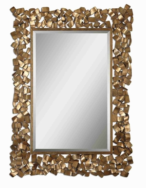 Capulin Mirror with Welded Antique Gold Leaf Glazed Strips Brand Uttermost