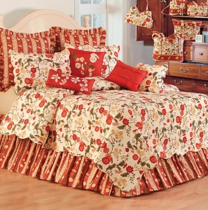 Carlisle Red Bed Ruffle - Queen Size Bed Skirt Brand C&F