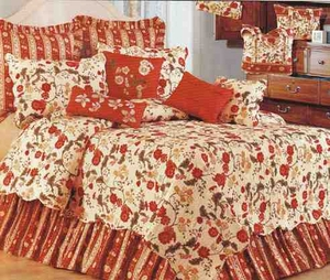 Carlisle Red Williamsburg Cotton Quilt Luxury  Twin  Bedding Ensembles Brand C&F