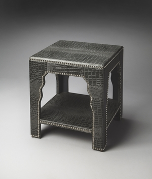 "Carlton Leather End Table 20""W by Butler Specialty"