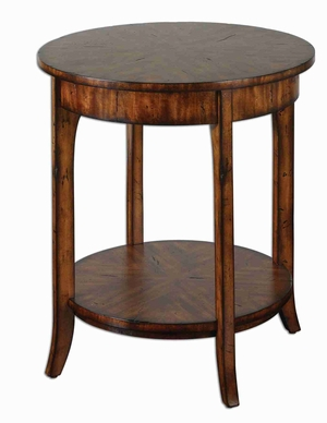 Carmel Round Lamp Table With Distressed Primavera Veneer Brand Uttermost