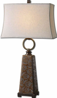 Carsoli Etched Table Lamp with Bronze Metal Detailing Brand Uttermost