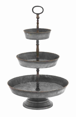Three Tiered Metal Galvanized Tray With Small Gold Colored Studs - 38193 by Benzara
