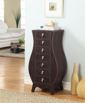 Casey Wooden Armoire with Bold Curves in Croco Brown Shade Brand Nathan