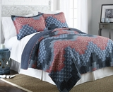 Cassidy Full/Queen Size Three Piece Reversible Quilt Set (100% Cotton)