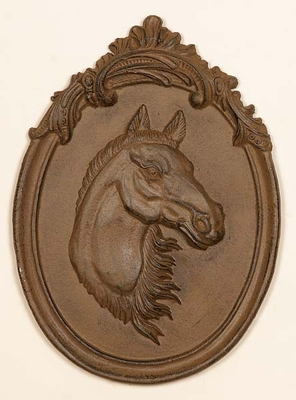 Cast Iron Horse Wall Plaque in Brown Finish with Modern Design Brand Woodland