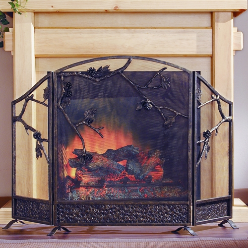 SPI HOME 31765 Cast Iron Mesh Fireplace Screen Embellished