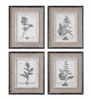 Casual Grey Study Framed Art with Wood Base - Set of 4 Brand Uttermost