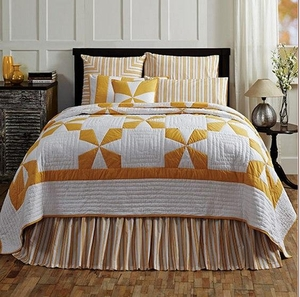 Catalina Queen Quilt in Golden Apricot with Cross Pattern Brand VHC