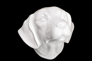 Catchy & Mysterious Ceramic Dog Head White by Urban Trends Collection