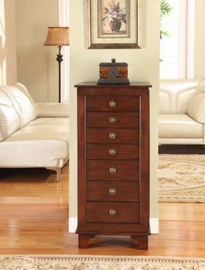 Cayman 7 Drawer Locking Jewelry Armoire in Antique Brown Brand Nathan