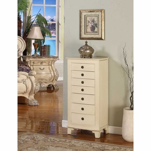 Cayman Seven Drawer Locking Jewelry Armoire in Cream Shade Brand Nathan
