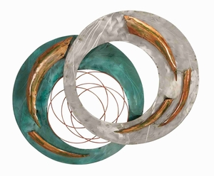 Celestial Round Green Silver Copper Metal Wall Decor Sculpture Brand Woodland