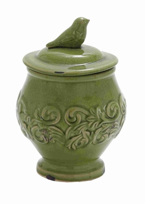 """Ceramic 10"""" Floral Bird Jar with Bird on the Top in Green Brand Woodland"""