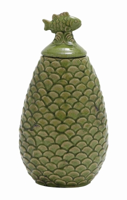 """Ceramic 15"""" Floral Bird Jar with Bird on the Top in Green Brand Woodland"""