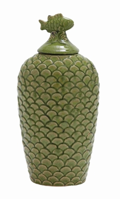 "Ceramic 16"" Floral Bird Jar with Bird on the Top in Green Brand Woodland"