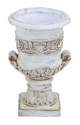 Ceramic Antiqued Urn with Finely Sculptured Floral Design Brand Woodland