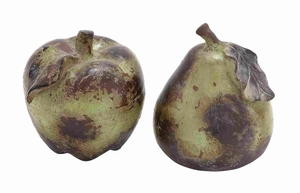 Ceramic Apple and Pear for Dining Table in Red & Blue Set of 2 Brand Woodland