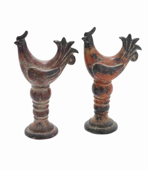 Ceramic Attractive and Alluring Rooster in Orange and Black Brand Woodland