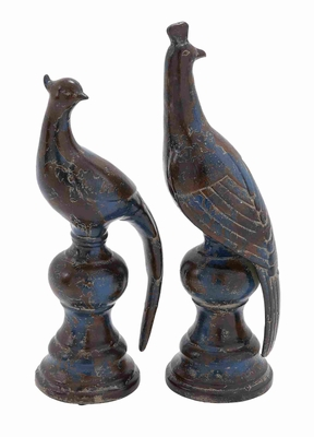 Ceramic Bird Decor in Black with Sturdy Construction Set of 2 Brand Woodland