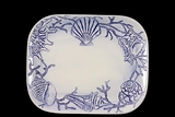 Ceramic Coastal Tray w/ Sea Shell & Coral Engravings