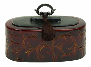 Ceramic Container Crafted with Fine Detailing in Brown Finish Brand Woodland