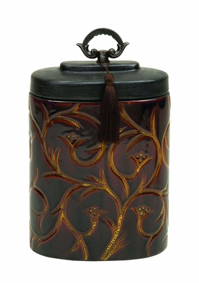 Ceramic Container Crafted with Intricate Detailing in Brown Brand Woodland