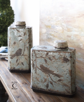 Ceramic Containers - Bird Seed Containers With Crackled Ceramic Brand Uttermost