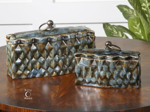 Ceramic Containers With Diamond Shaped Rusted Blue Finish Brand Uttermost
