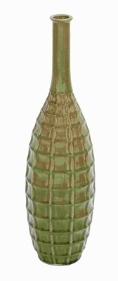 Ceramic Crackled Vase Attractive Green Shade and Pitcher Shaped Brand Woodland