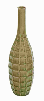 Ceramic Crackled Vase with Glossy Finish and Shaded in Green Brand Woodland