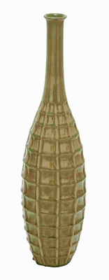 Ceramic Crackled Vase with Glossy Finish in Green Shade Brand Woodland