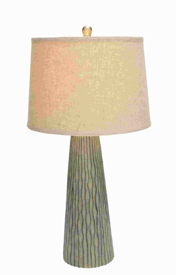 Ceramic Decorative Modern Table Lamp with Vertical Engravings Brand Woodland