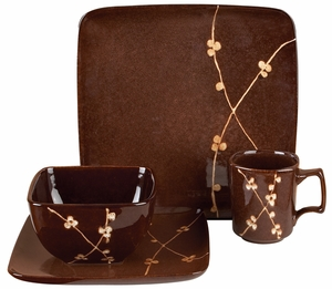 Ceramic Dinner in Dark Brown Color with Floral Design - Set of 16 Brand Woodland