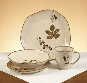 Ceramic Dinner Set in Brown Finish with Modern Design - Set of 16 Brand Woodland