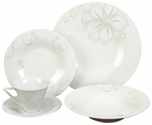 Ceramic Dinner Set in White Finish with Modern Design - Set of 20 Brand Woodland