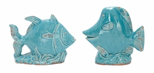 Ceramic Fish Set Of Two A True Nautical Table Decor Sculpture Brand Woodland