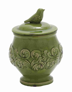 "Ceramic Floral 12"" Bird Jar with Bird on the Top in Green Brand Woodland"