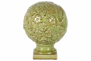 Ceramic Flower Globe Etched w/ Beautiful Flowers on Stand in Green Large
