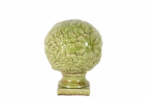 Ceramic Flower Globe Etched w/ Beautiful Flowers on Stand in Green Small