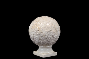Ceramic Flower Globe Etched w/ Beautiful Flowers on Stand in White Small