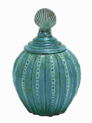 Ceramic Jar with Vibrant Blue Color and Weathered Finish Brand Woodland