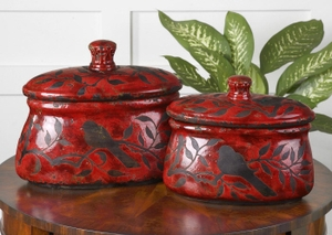 Ceramic Jars - Bird And Branch Brilliant Red Candy Jar Set Brand Uttermost