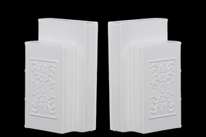 Ceramic Manuscript Bookend Adorn w/ Beautiful Motif in White