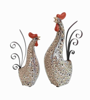 Ceramic Metal Rooster with Spotted Black Pattern (Set of 2) Brand Woodland