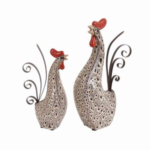 Benzara Ceramic Metal Rooster with Spotted Dark Brown Pattern (Set of 2)