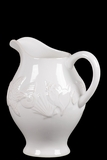 Ceramic Pitcher Embellished w/ Beautiful Seashell Motifs in White