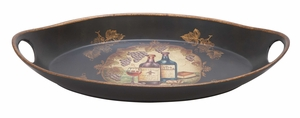 Ceramic Platter Oval Shape A Bar Themed Serving Tray Brand Woodland