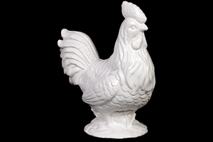 Ceramic Rooster Elegantly Sculpted w/ Fine Details & Antique Finish in White